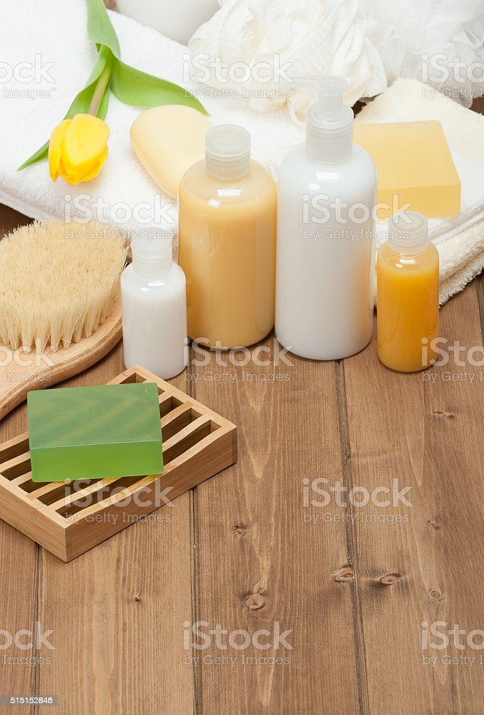 Spa Kit. Shampoo, Soap Bar And Liquid. Shower Gel. Towels stock photo