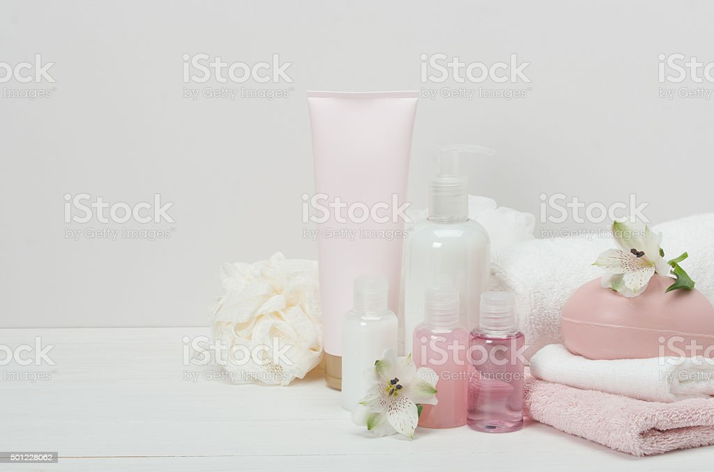 Spa Kit. Shampoo, Soap Bar And Liquid. Toiletries stock photo