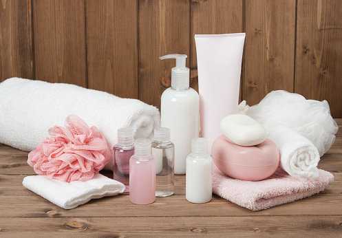 Spa Kit. Shampoo Soap Bar And Liquid. Toiletries