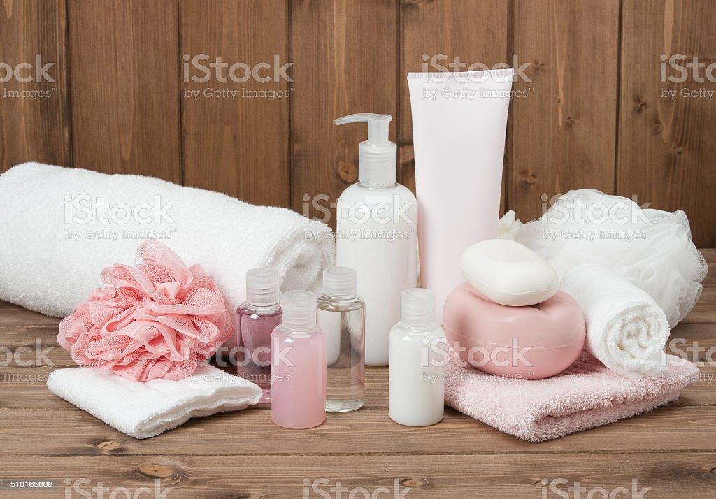 Spa Kit. Shampoo, Soap Bar And Liquid. Toiletries stock photo