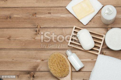 istock Spa Kit. Top View. Shampoo, Soap Bar And Liquid. Shower 515152506
