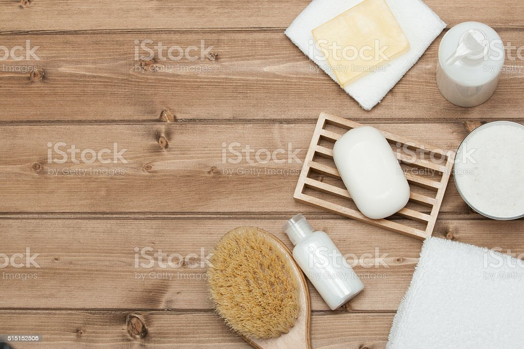 Spa Kit. Top View. Shampoo, Soap Bar And Liquid. Shower stock photo