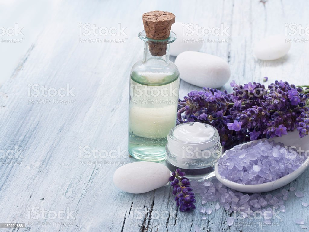 spa lavender arrangement stock photo