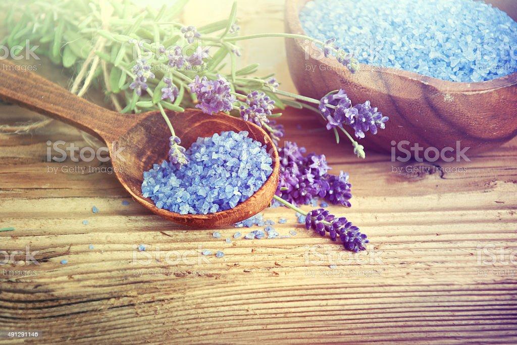 Spa Lavender Salt. stock photo