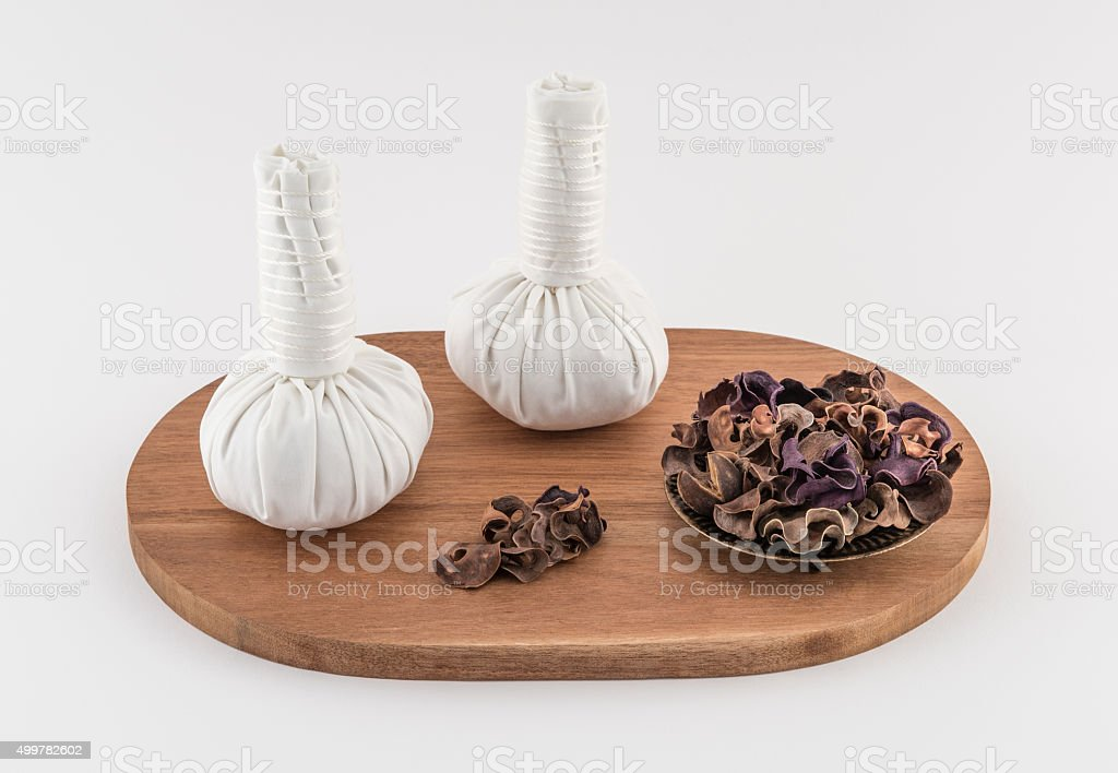 Spa Massage balls with Dried Herbs stock photo