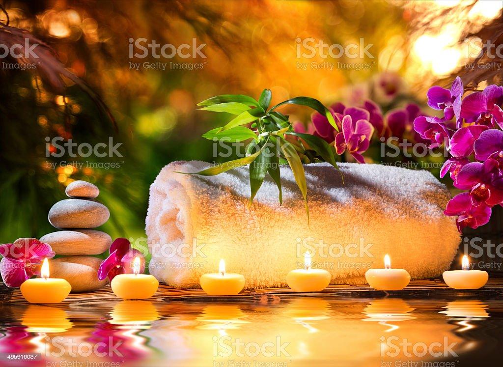 spa massage in garden stock photo