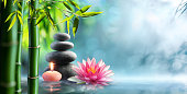 Candle, black stones and waterlily in pond