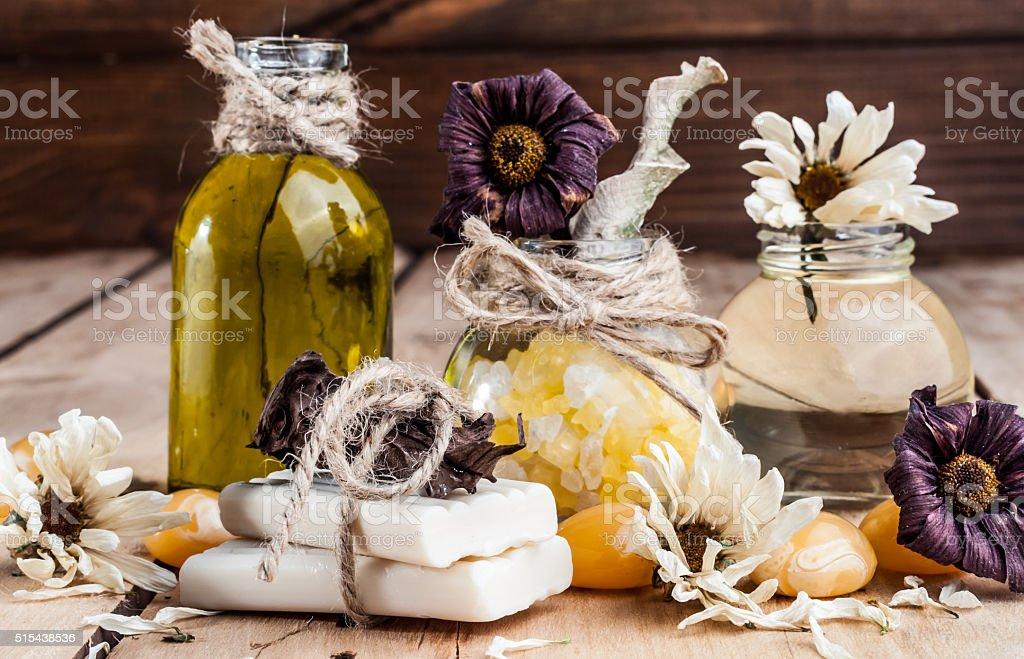 spa, oil, bath salt, spices, herbs, handmade soaps stock photo