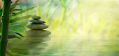 Spa and wellness. Natural massage stones  with bamboo0. Spa  oriental background
