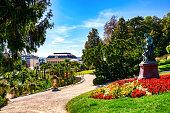 Colorful garden. Lush foliage and garden path.