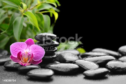 orchid and stones on the black.Others spa teme in this lightbox http://www.istockphoto.com/file_search.php?action=file&lightboxID=7989999