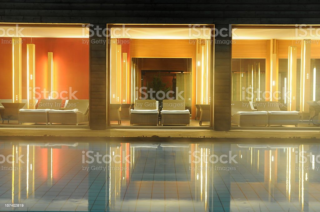 spa pool and reflections stock photo