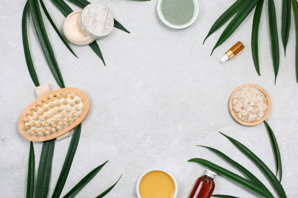 Spa product composition and natural cosmetic with palm leaves and massage brush stock photo