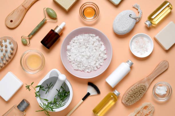 produtos dos termas para o cuidado home da pele - condição natural - fotografias e filmes do acervo