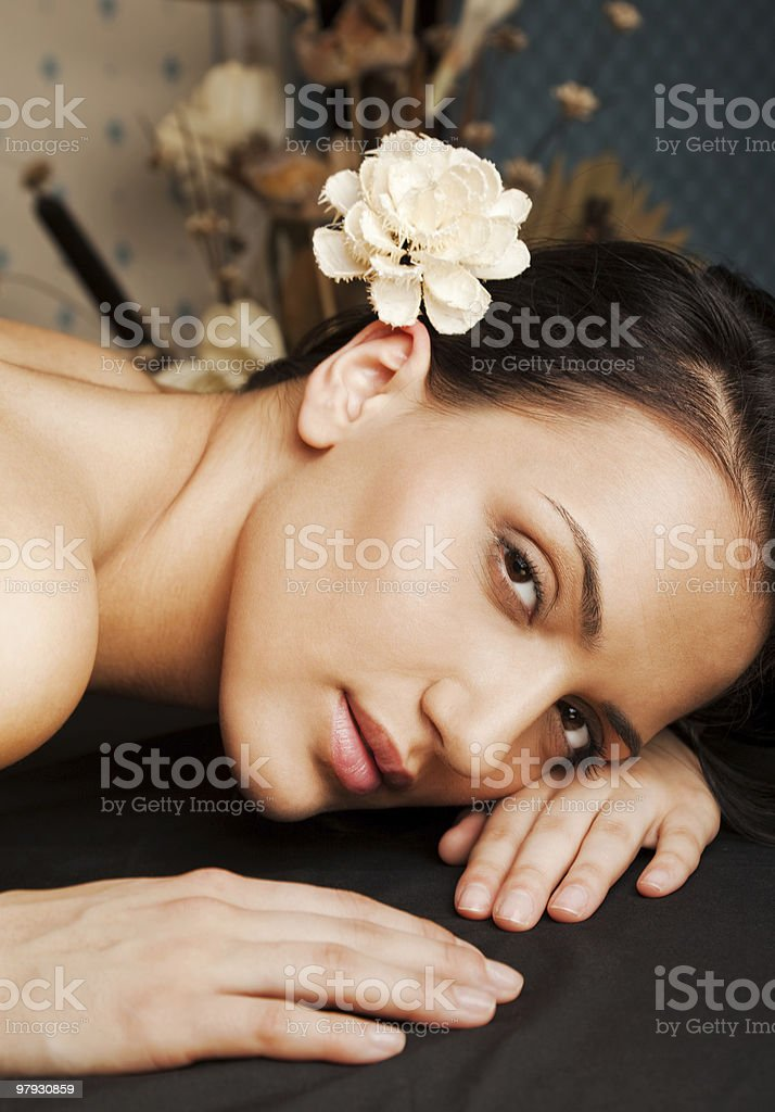 Spa relax female face royalty-free stock photo