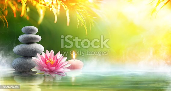 istock Spa - Relaxation With Massage Stones And Waterlily In Water 668026050