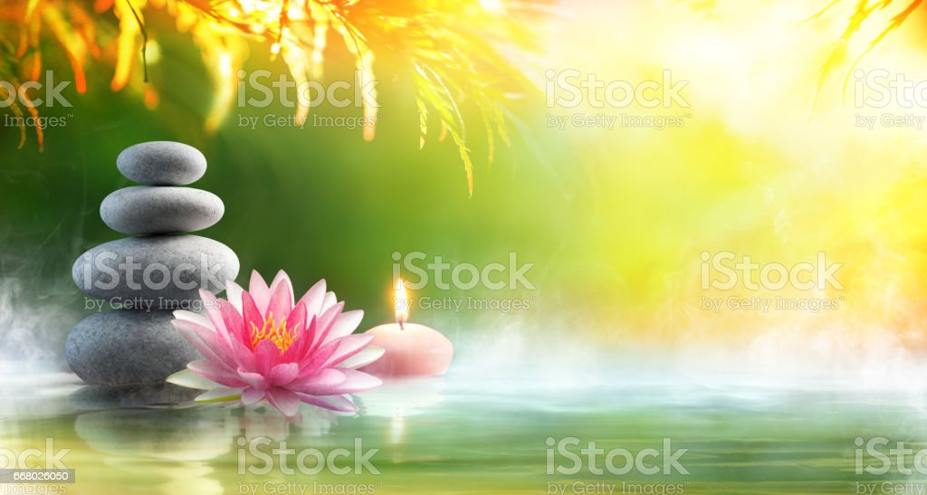Spa - Relaxation With Massage Stones And Waterlily In Water stock photo