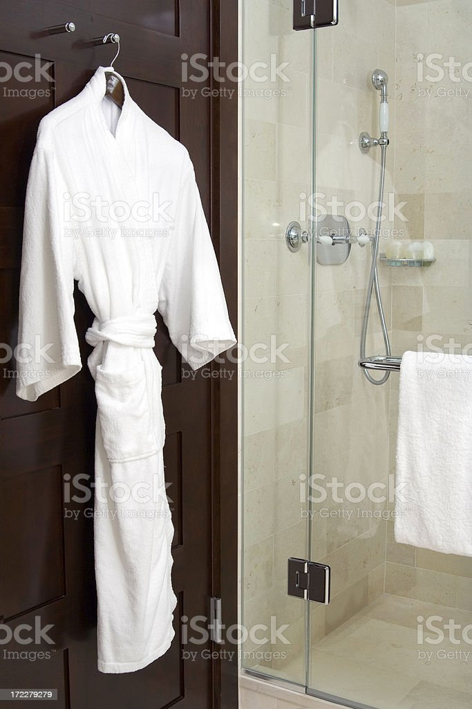 Spa Robe and Marble Shower royalty-free stock photo