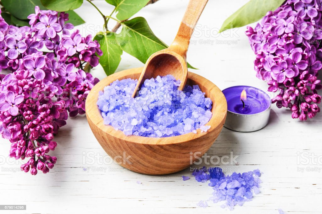Spa salt with aroma of lilac royalty-free stock photo