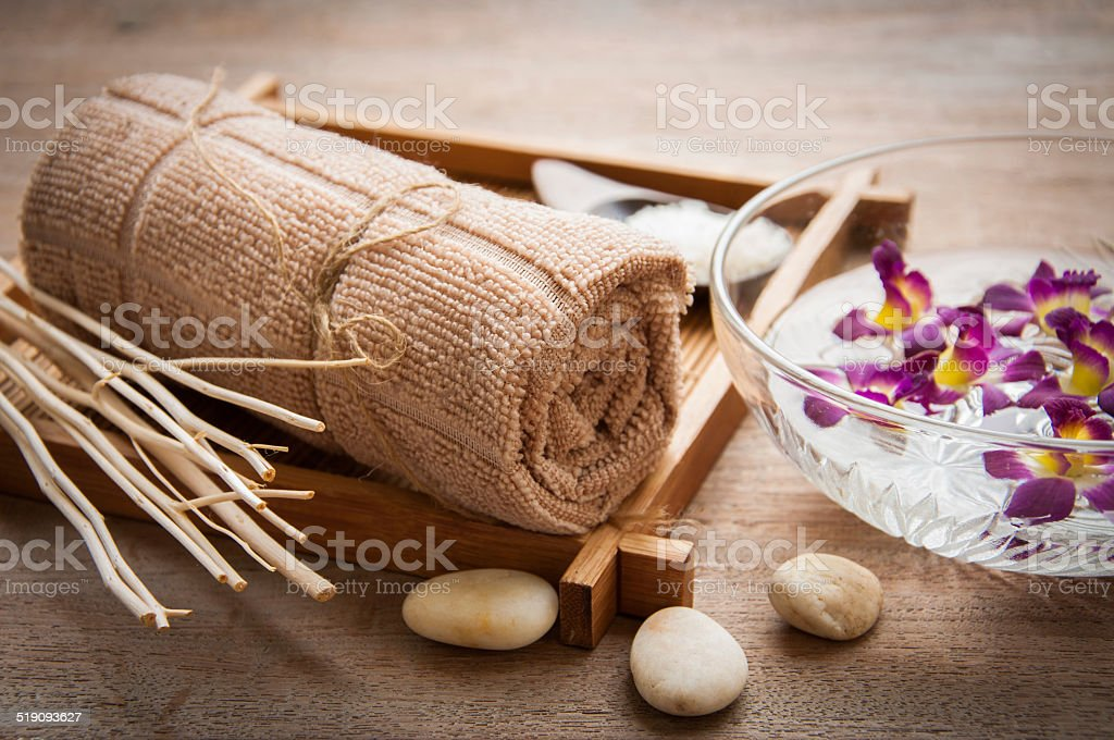 Spa set on mat stock photo