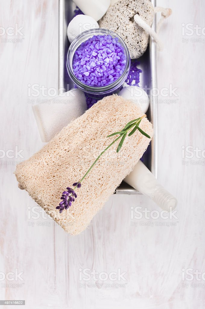 Spa set with lavender on white wooden background stock photo