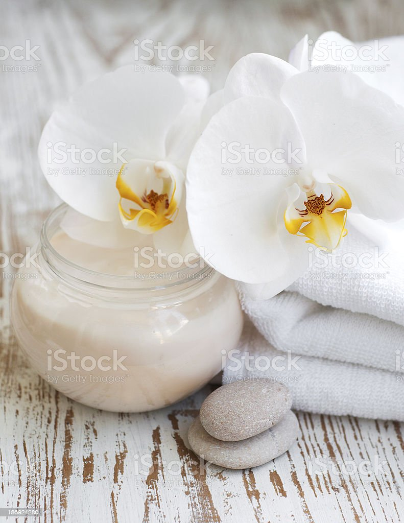 Spa set with white orchids royalty-free stock photo