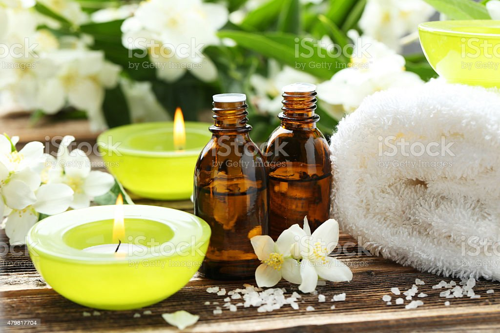 Spa setting on brown wood stock photo