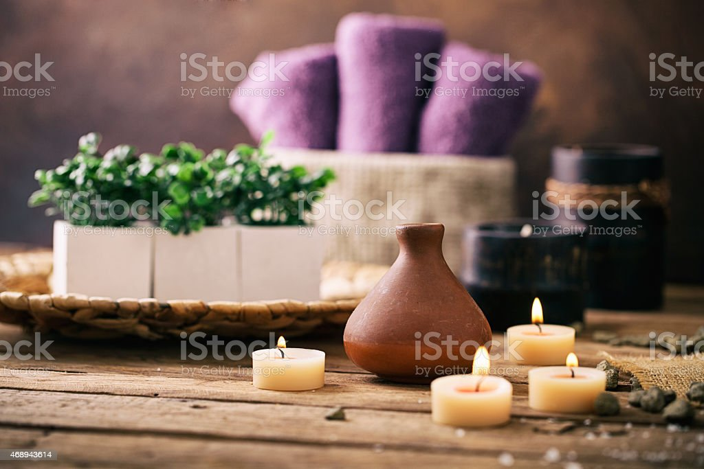 Spa setting Spa and wellness setting with flowers and towels. Dayspa nature products 2015 Stock Photo