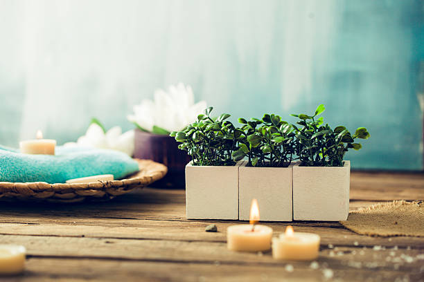 spa setting - spa treatment stock photos and pictures