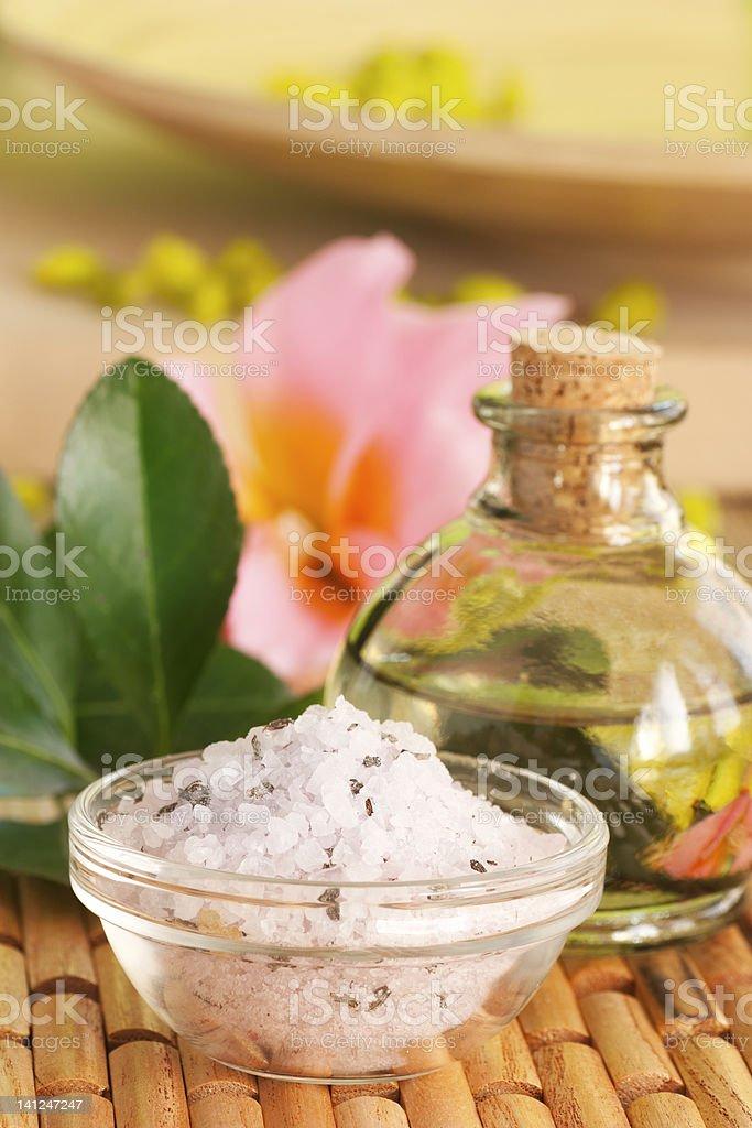 Spa setting with  bath salt stock photo