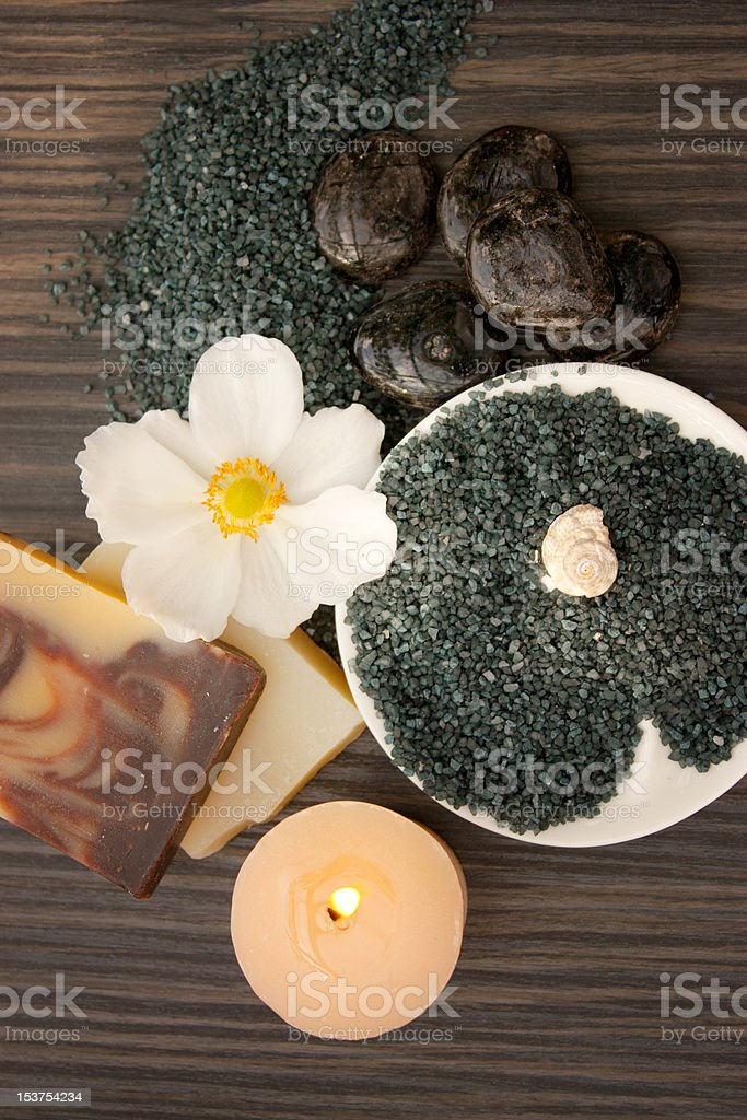 Spa setting with hot rocks royalty-free stock photo