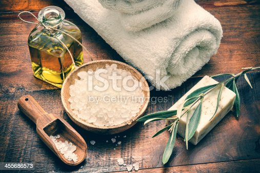 istock Spa setting with natural olive soap and sea salt 455686573