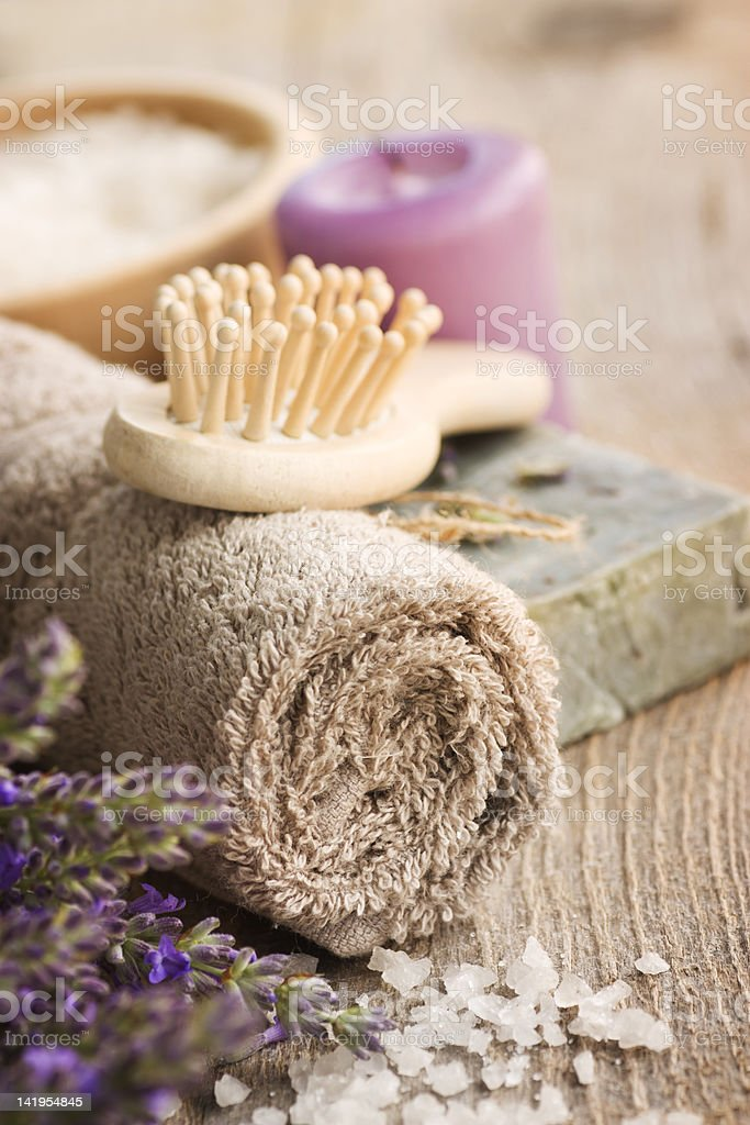 Spa setting with towel and bath salt royalty-free stock photo