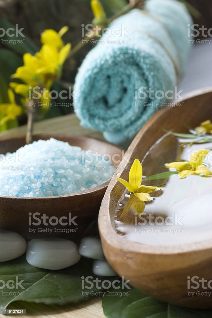 Spa setting with water for treatment royalty-free stock photo
