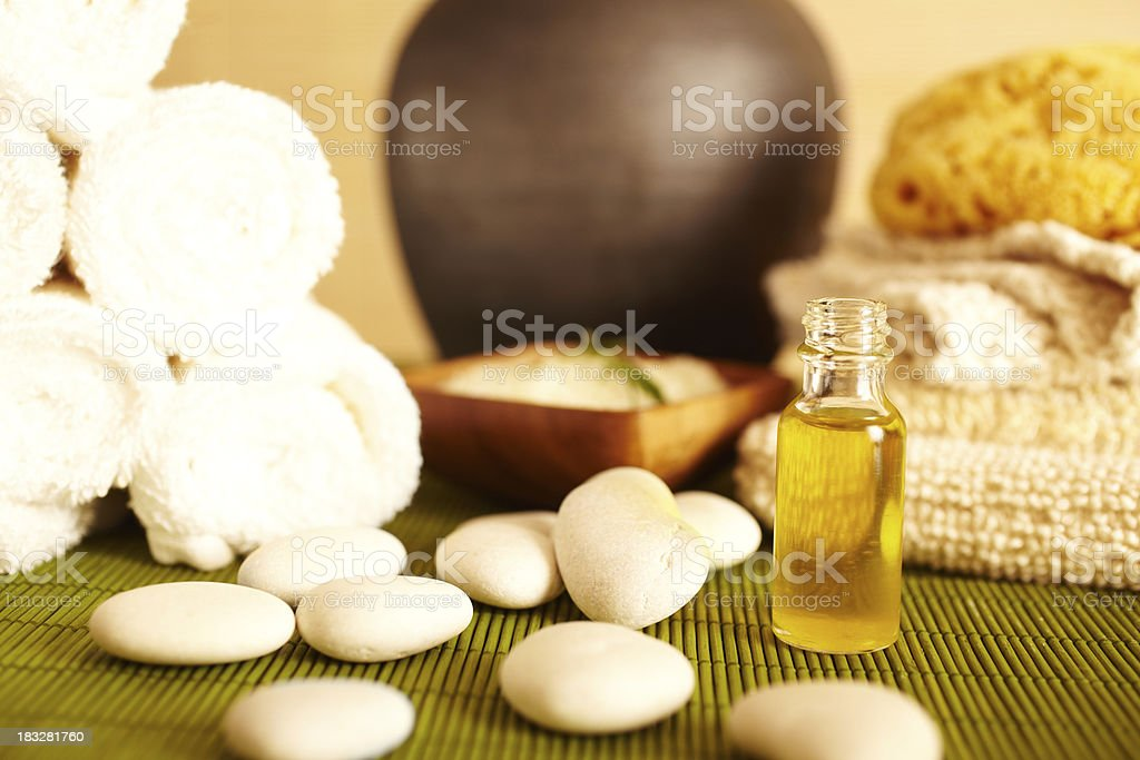 Spa still life essential oil, soap and scrub royalty-free stock photo