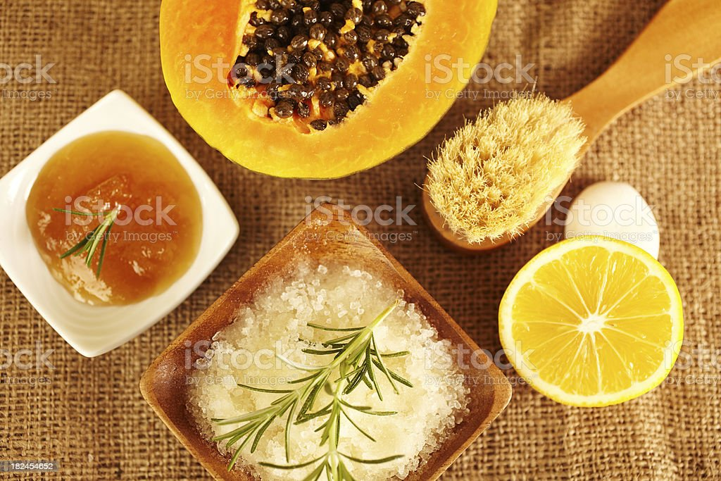 Spa still life of bath salt scrub and honey royalty-free stock photo