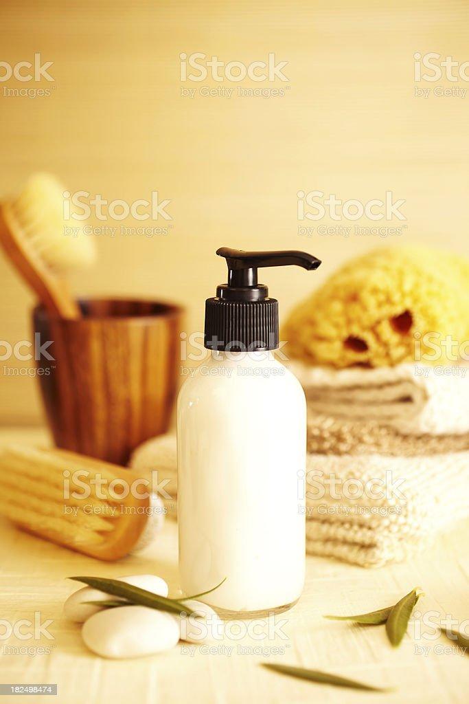 Spa still life of moisturizer lotion in bathroom royalty-free stock photo