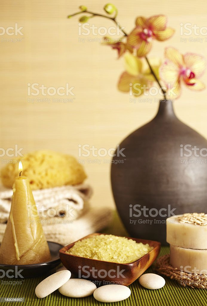 Spa still life of orchid flower and salt scrub royalty-free stock photo