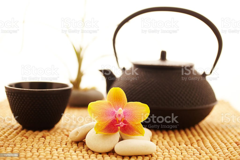 Spa still life of orchid flower and tea royalty-free stock photo