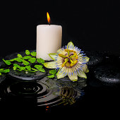 spa still life of passiflora flower, green leaf fern with drop and candle on zen stones in ripple reflection water, closeup