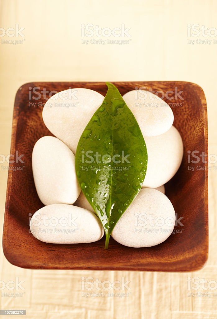 Spa still life of white rocks with green leaf royalty-free stock photo