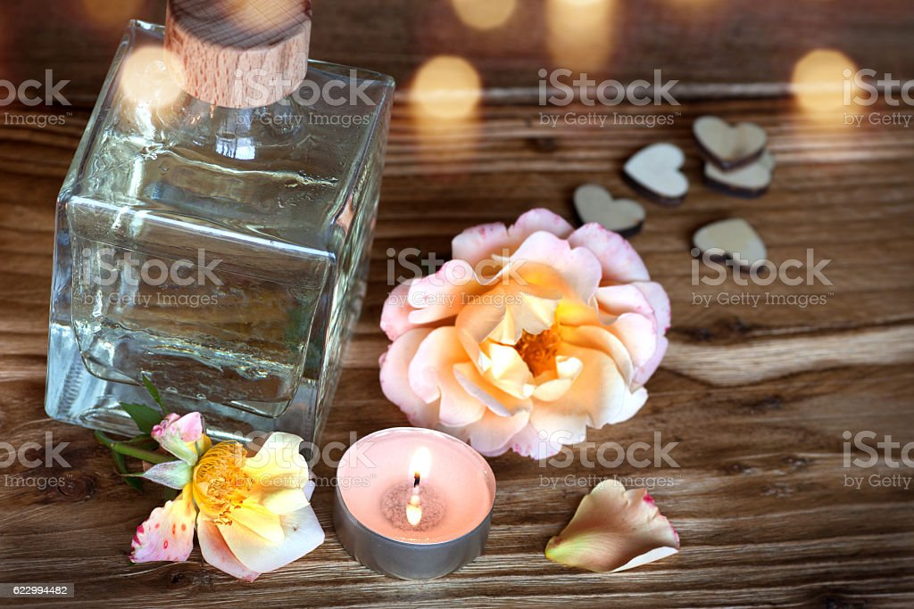 Spa still life on a wooden table stock photo
