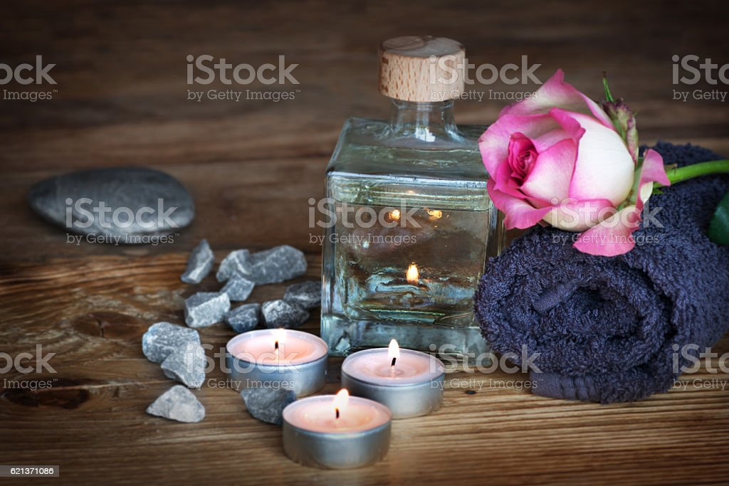 Spa still life on wood stock photo