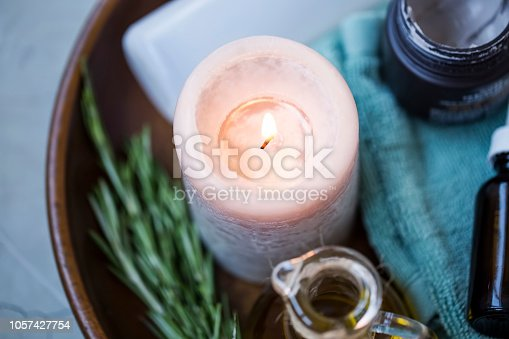 Spa still life setting with candle, top view