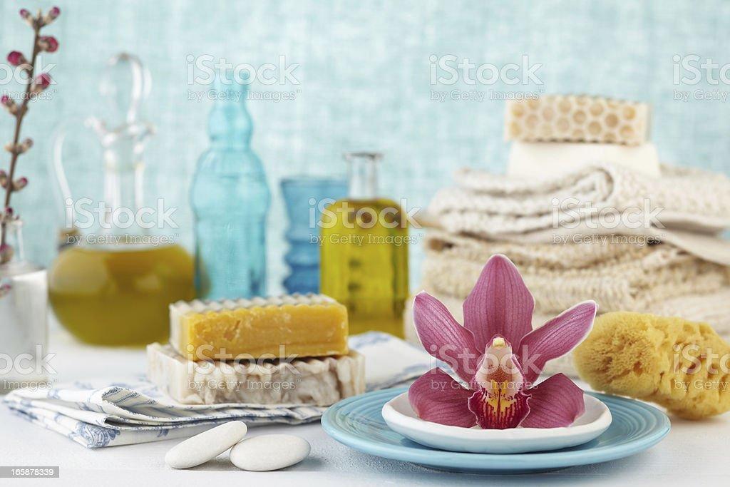 Spa still life stacked bars of soap,brush,washcloth,sponge stock photo
