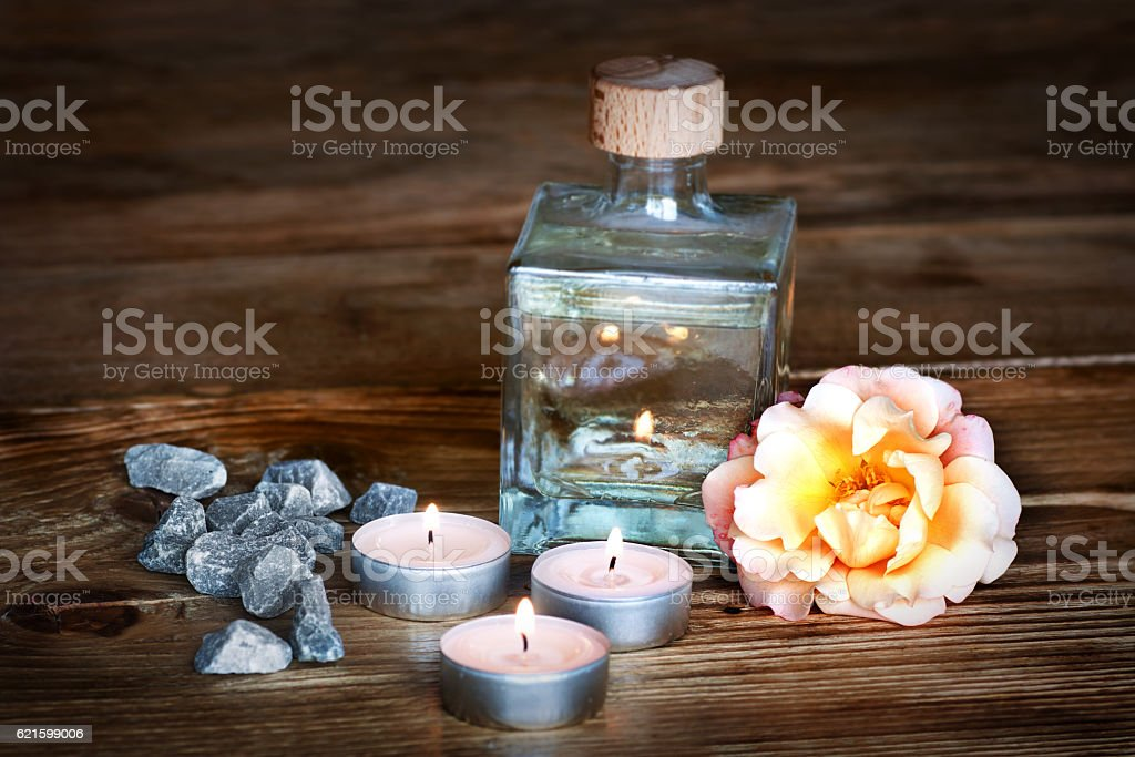 Spa still life with aromatic oil stock photo