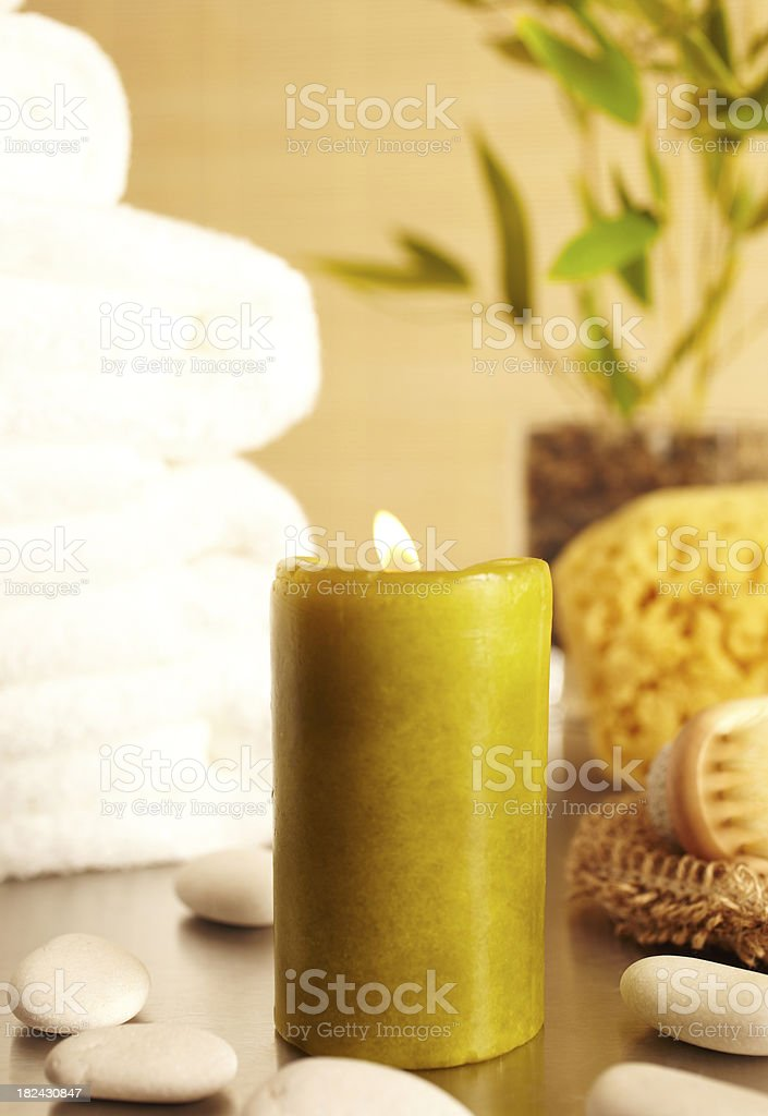 Spa still life with, candle in bathroom royalty-free stock photo