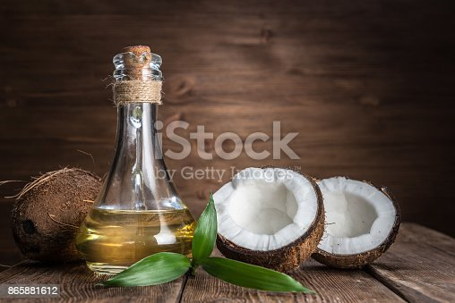 Spa still life with coconut and massage oil