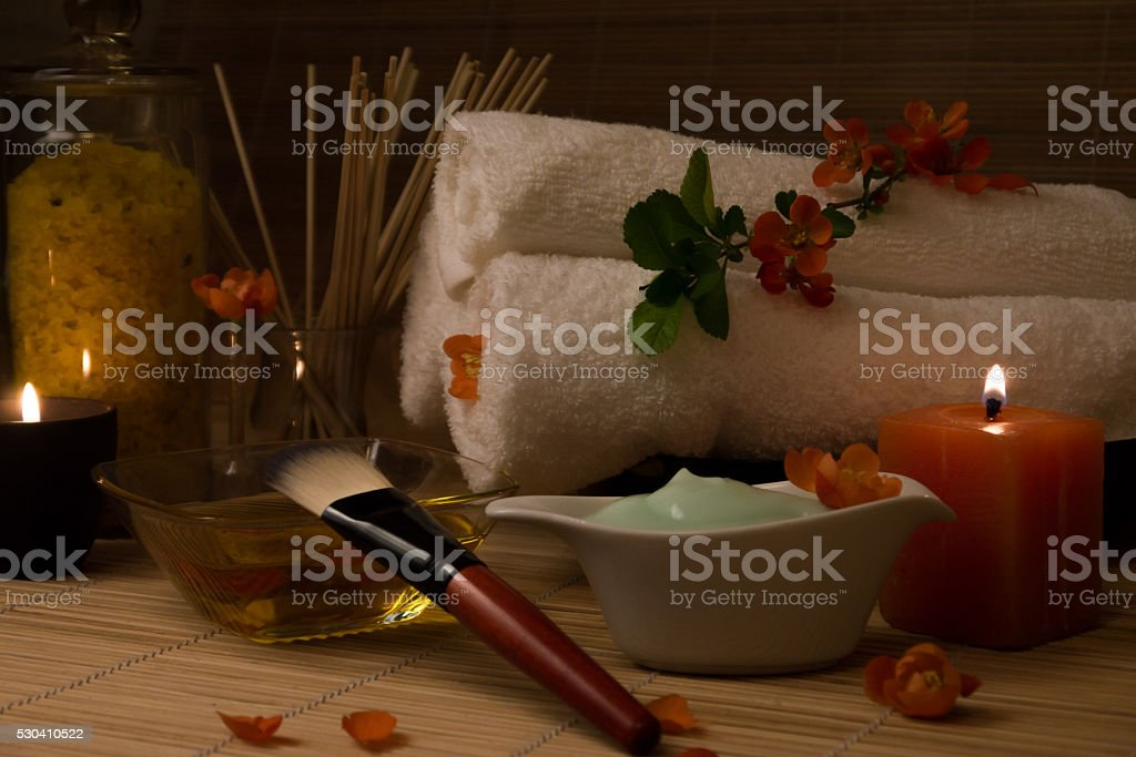 Spa Still  Life With  Flower, Candles, Massage Oil. stock photo