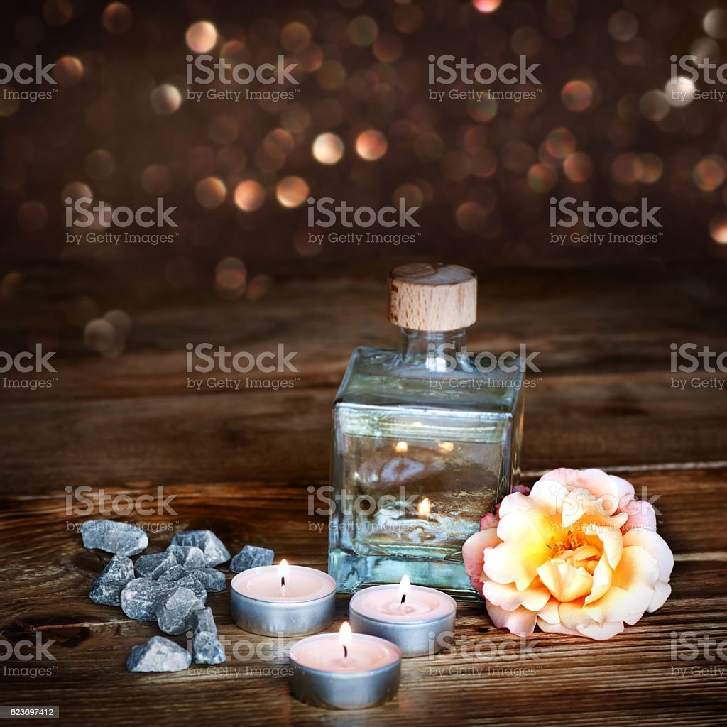 Spa still life with gold shimmering background stock photo
